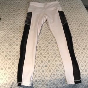 White and black leggings with shear sides